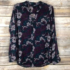 Kut from the Kloth Sheer Button Up Floral Blouse M